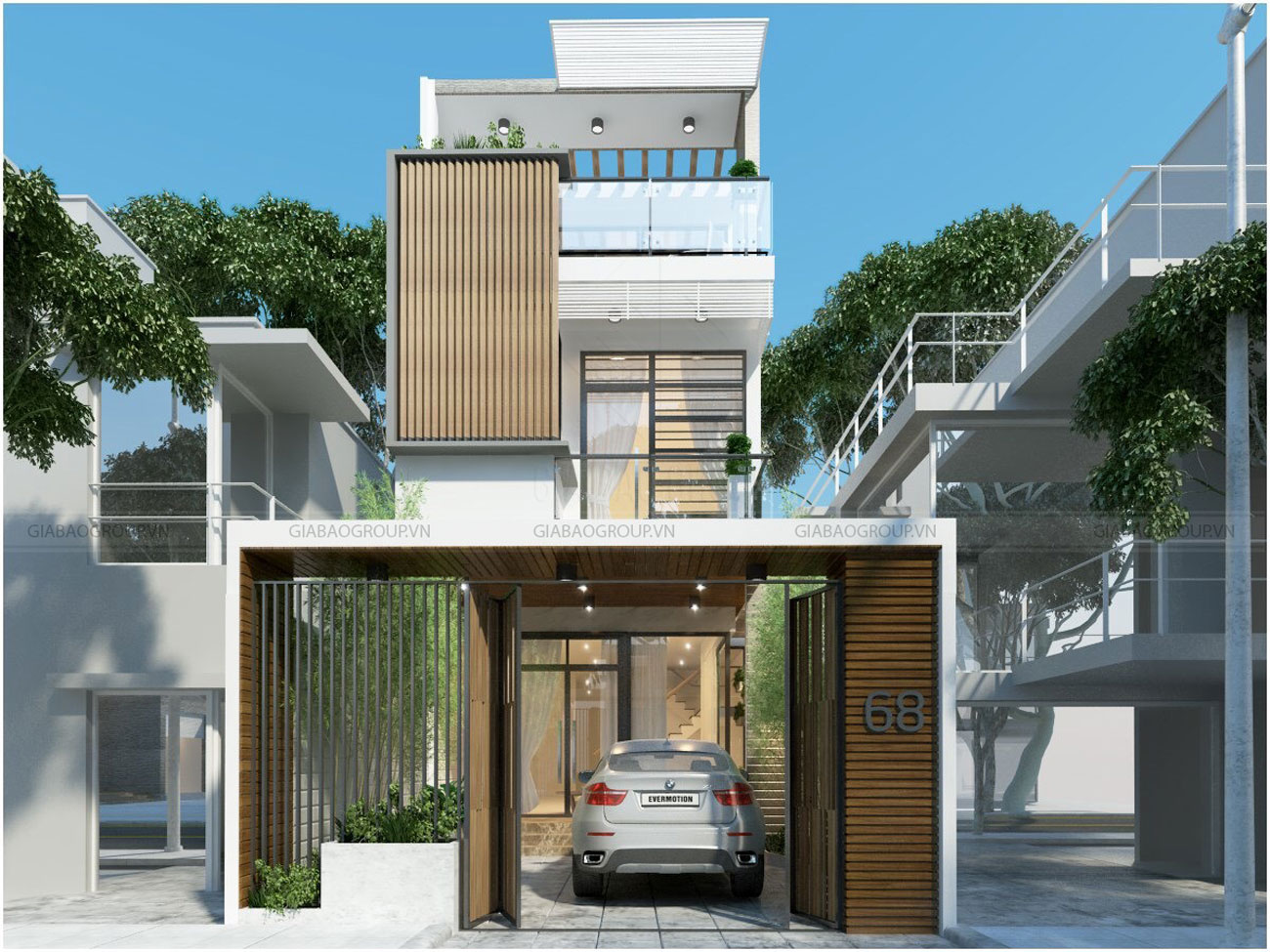 Thiết kế nhà phố đẹp có garage để xe